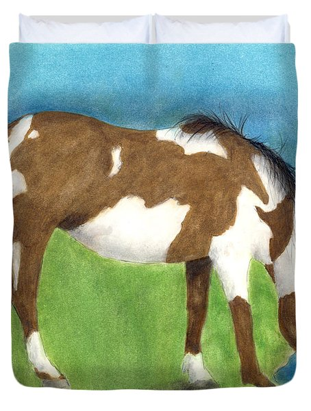 Pinto Mustang Horse Mare Farm Ranch Animal Art Duvet Cover by Cathy Peek
