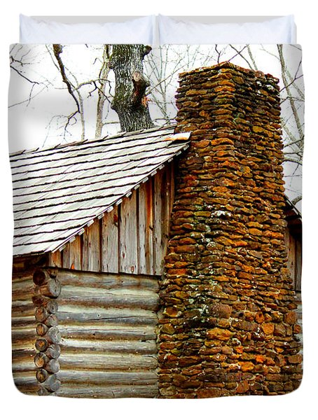 Pioneer Log Cabin Chimney Duvet Cover by Kathy  White