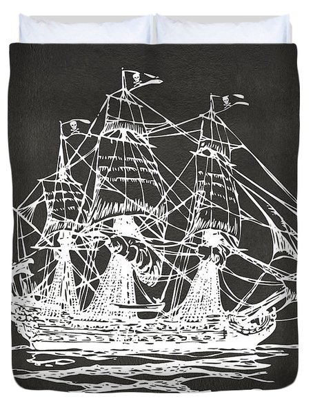 Pirate Ship Artwork - Gray Duvet Cover by Nikki Marie Smith