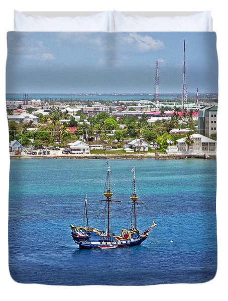 Pirate Ship in Cozumel Duvet Cover by Aimee L Maher Photography and Art