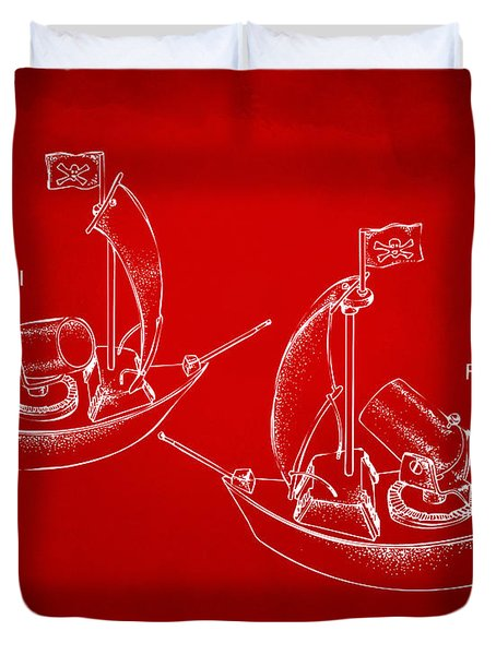 Pirate Ship Patent Artwork - Red Duvet Cover by Nikki Marie Smith
