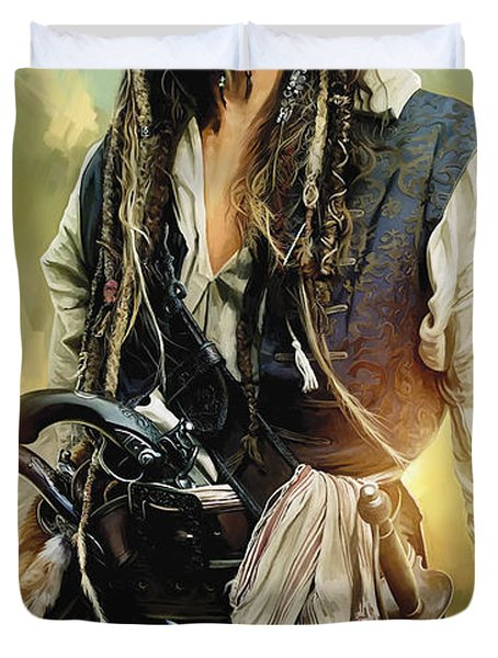 Pirates Of The Caribbean Johnny Depp Artwork 1 Duvet Cover by Sheraz A