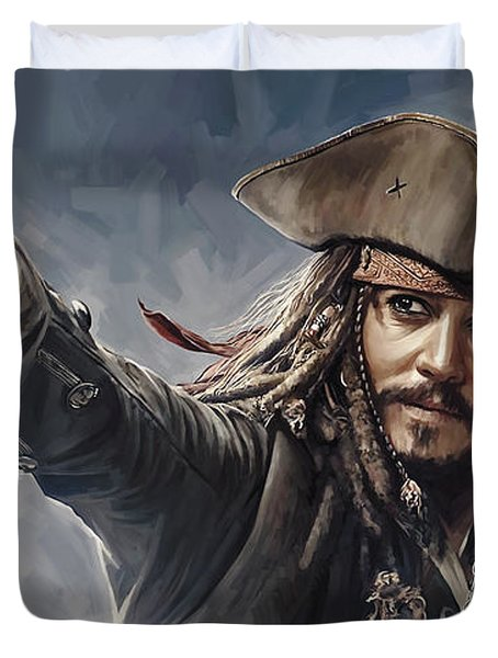 Pirates Of The Caribbean Johnny Depp Artwork 2 Duvet Cover by Sheraz A