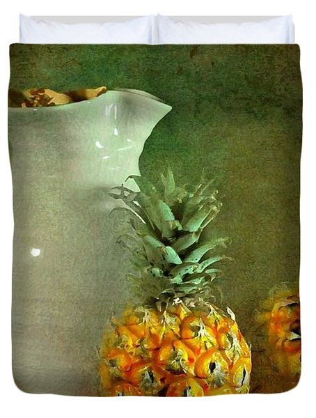 Pitcher with Pineapples Duvet Cover by Diana Angstadt