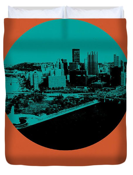 Pittsburgh Circle Poster 1 Duvet Cover by Naxart Studio