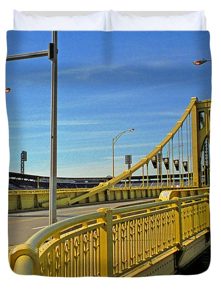 Pittsburgh - Roberto Clemente Bridge Duvet Cover by Frank Romeo