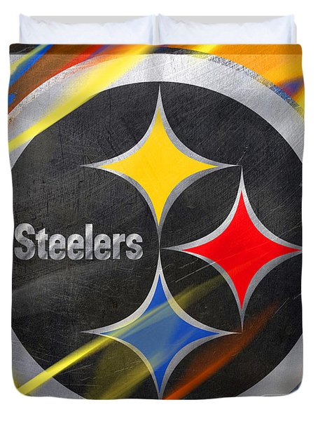 Pittsburgh Steelers Football Duvet Cover by Tony Rubino