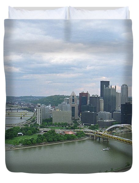 Pittsburgh - View of the Three Rivers Duvet Cover by Frank Romeo