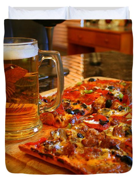 Pizza And Beer Duvet Cover by Kay Novy
