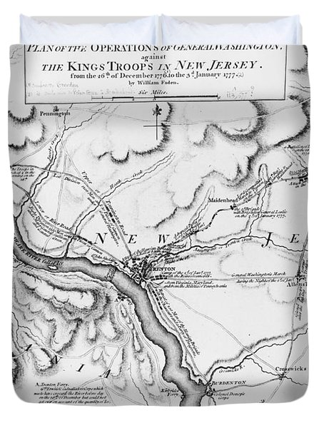 Plan Of The Operations Of General Washington Against The Kings Troops In New Jersey Duvet Cover by William Faden