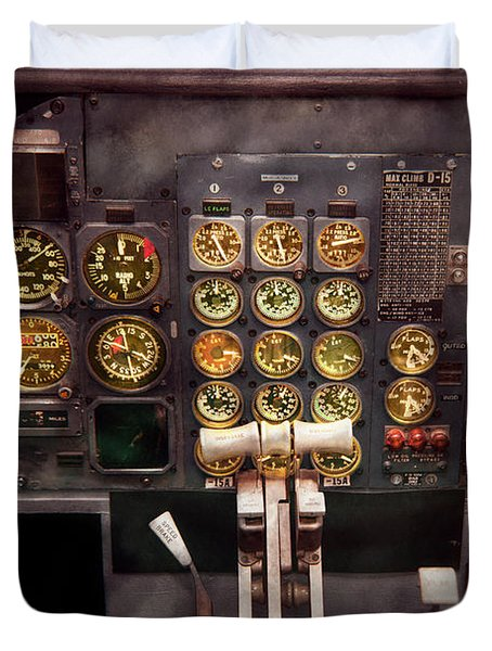 Plane - Cockpit - Boeing 727 - The controls are set Duvet Cover by Mike Savad