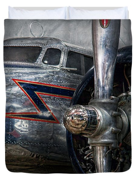 Plane - Hey fly boy  Duvet Cover by Mike Savad