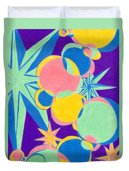 Planets And Stars Duvet Cover by Kim Sy Ok