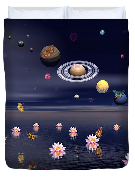 Planets Of The Solar System Surrounded Duvet Cover by Elena Duvernay
