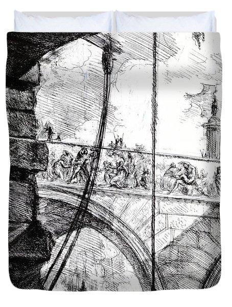 Plate 4 From The Carceri Series Duvet Cover by Giovanni Battista Piranesi