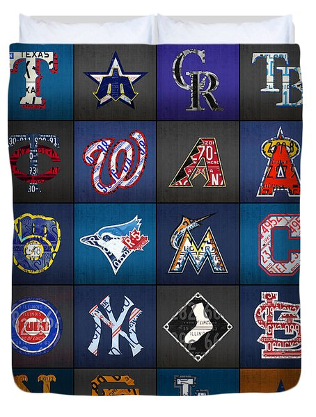 Play Ball Recycled Vintage Baseball Team Logo License Plate Art Duvet Cover by Design Turnpike