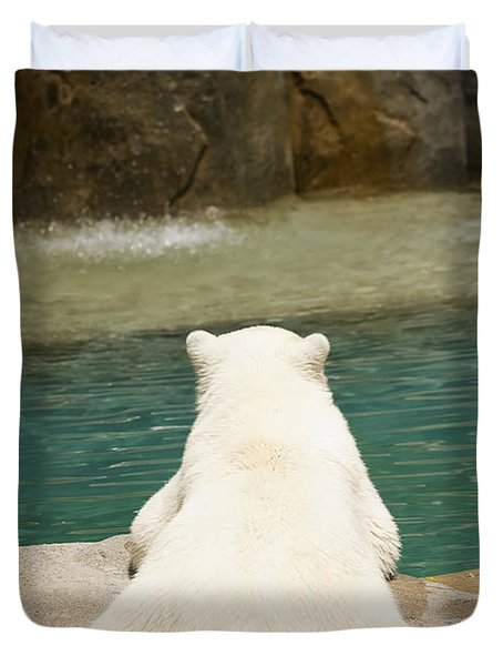 Playful Polar Bear Duvet Cover by Adam Romanowicz