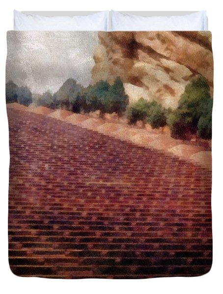 Playing at Red Rocks Duvet Cover by Michelle Calkins