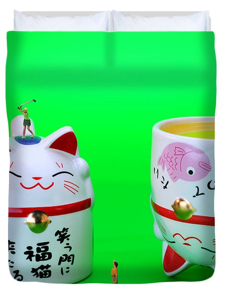 Playing Golf On Cat Cups Duvet Cover by Paul Ge