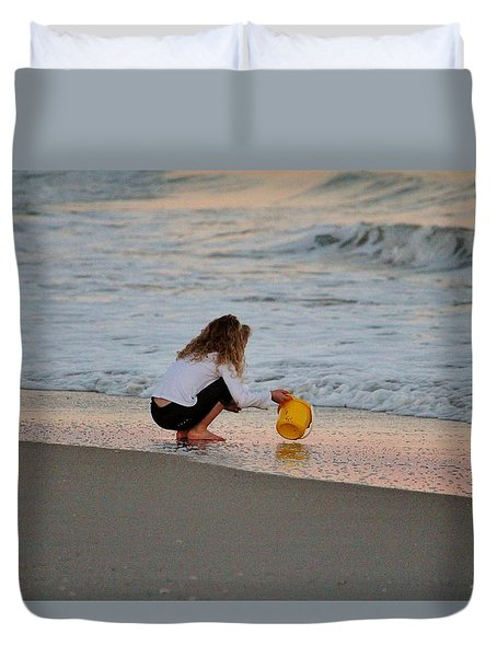 Playing In The Ocean Duvet Cover by Cynthia Guinn