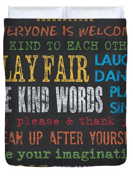 Playroom Rules Duvet Cover by Debbie DeWitt