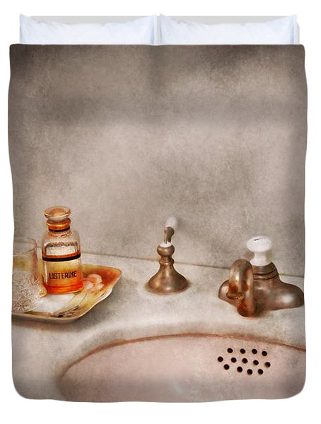 Plumber - First thing in the morning Duvet Cover by Mike Savad