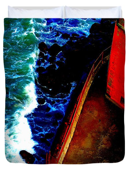 Plunging From Golden Gate Duvet Cover by Holly Blunkall