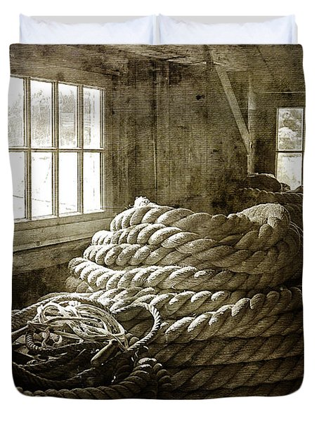 Plymouth Cordage Company Ropewalk Duvet Cover by Cindi Ressler