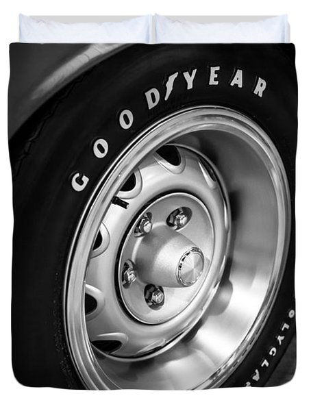 Plymouth Cuda Rallye Wheel Duvet Cover by Paul Velgos