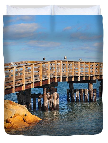Plymouth Harbor Breakwater Duvet Cover by Catherine Reusch  Daley