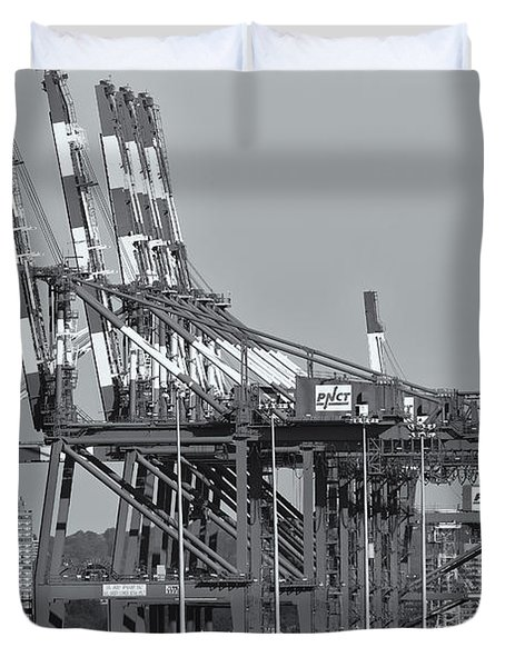 PNCT Facility in Port Newark-Elizabeth Marine Terminal II Duvet Cover by Clarence Holmes