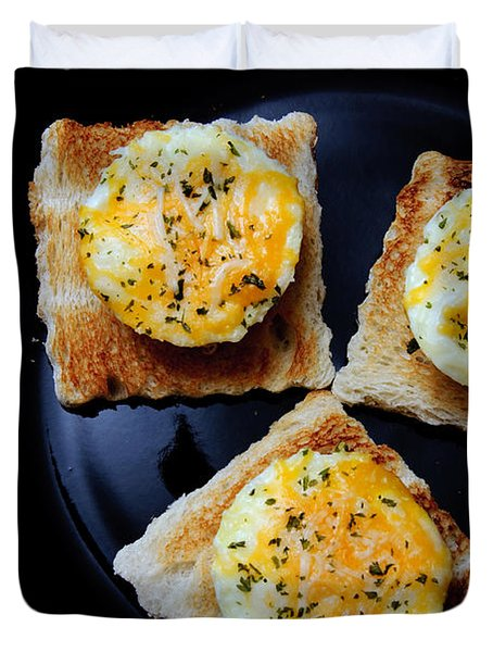 Poached Eggs On A Raft Duvet Cover by Andee Design