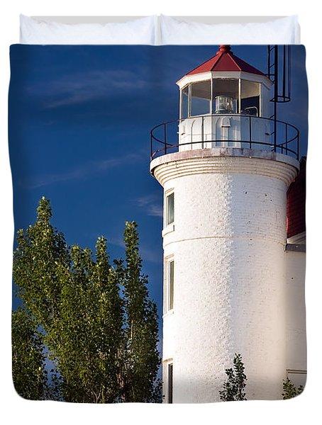 Point Betsie Lighthouse Michigan Duvet Cover by Adam Romanowicz