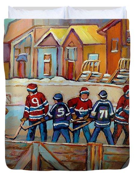 Pointe St. Charles Hockey Rinks Near Row Houses Montreal Winter City Scenes Duvet Cover by Carole Spandau