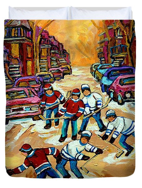 Pointe St.charles Hockey Game Winter Street Scenes Paintings Duvet Cover by Carole Spandau