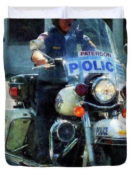 Police - Motorcycle Cop Duvet Cover by Susan Savad