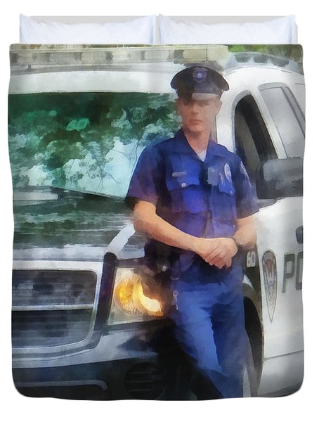 Police - Policeman by Patrol Car Duvet Cover by Susan Savad