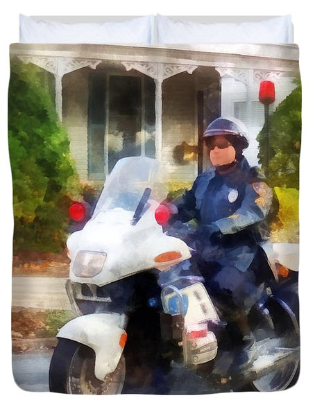 Police - Suburban Motorcycle Cop Duvet Cover by Susan Savad