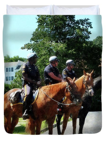 Policeman - Mounted Police Profile Duvet Cover by Susan Savad
