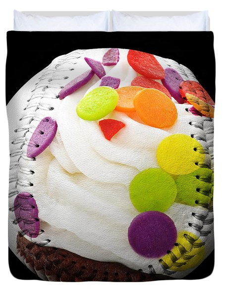 Polka Dot Cupcake Baseball Square Duvet Cover by Andee Design