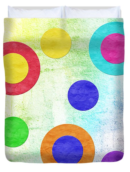 Polka Dot Panorama - Rainbow - Circles - Shapes Duvet Cover by Andee Design
