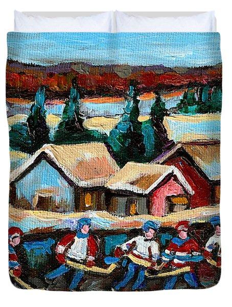 Pond Hockey 2 Duvet Cover by Carole Spandau