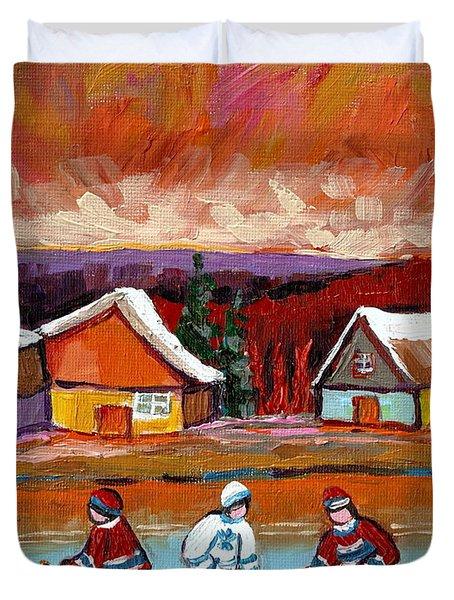 Pond Hockey Game 2 Duvet Cover by Carole Spandau