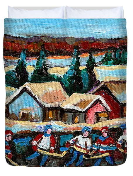 Pond Hockey Game In The Country Duvet Cover by Carole Spandau
