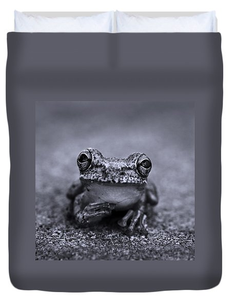 Pondering Frog Bw Duvet Cover by Laura Fasulo
