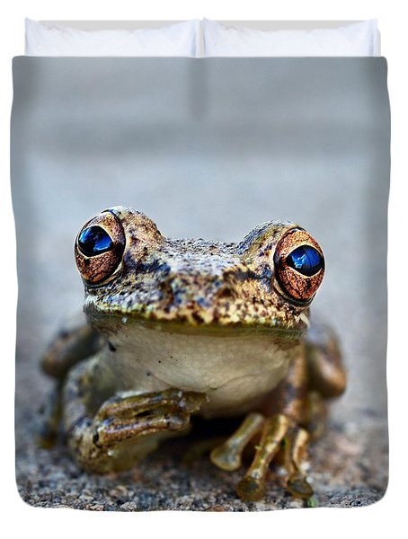pondering frog Duvet Cover by Laura  Fasulo