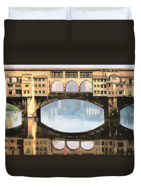 Ponte Vecchio a Firenze Duvet Cover by Guido Borelli