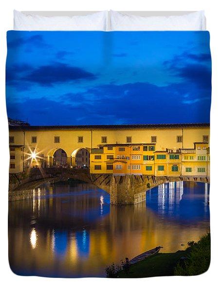 Ponte Vecchio Reflection Duvet Cover by Inge Johnsson