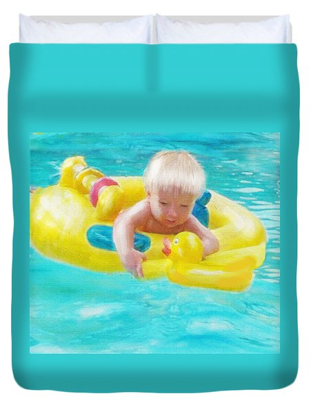 Pool Baby Duvet Cover by Jane Schnetlage