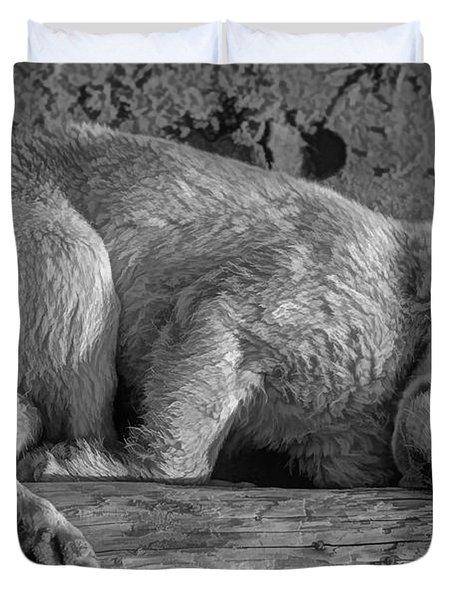 Pooped Puppy bw Duvet Cover by Steve Harrington
